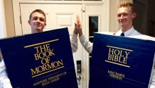 people dressed as the book of mormon and the bible