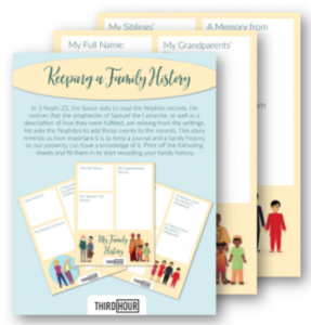 keeping a family history kids activity