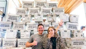 Mat and Savanna Shaw with albums to be sent out