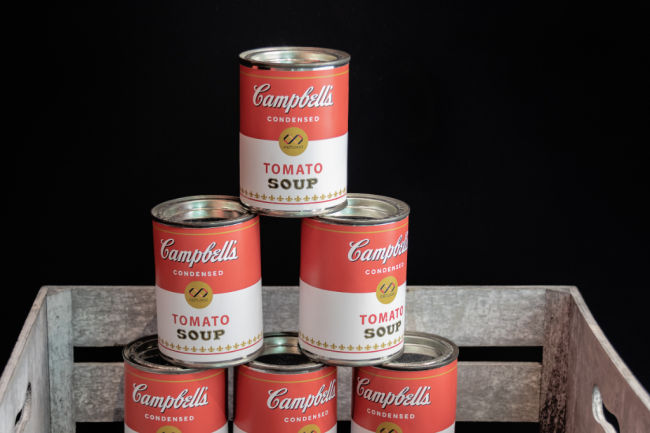 campbells tomato soup stacked on each other for a missionary meal