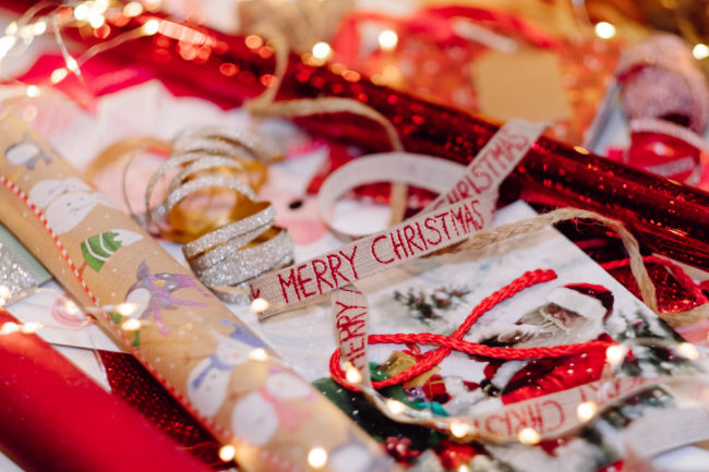 ribbons for christmas presents that say merry christmas