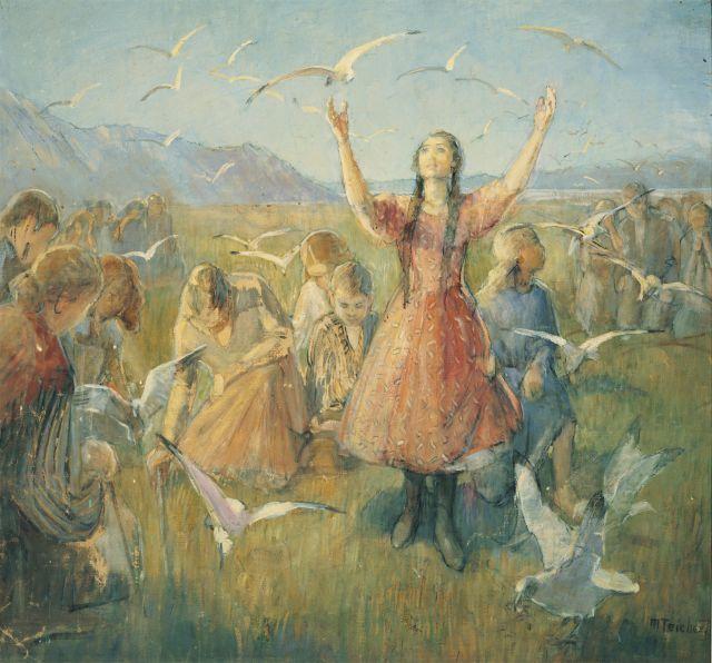 Miracle of gulls by Minerva Teichert