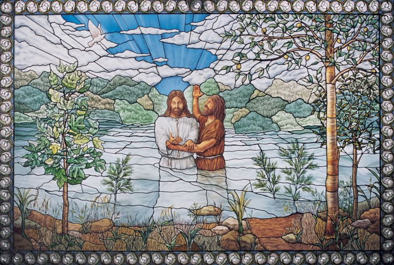 A stained glass window in the Nauvoo Temple shows John the Baptism baptizing Jesus Christ. Christ showed His love for Heavenly Father by obeying the commandments.
