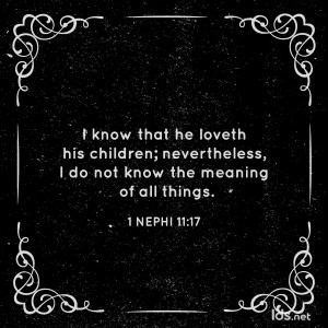 I know that he loveth his children; nevertheless, I do not know the meaning of all things. 1 Nephi 11:17